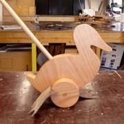 loop eend gemaakt tijdens de workshop houten speelgoed maken
